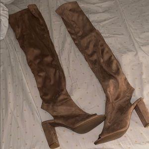 Knee high suede heels